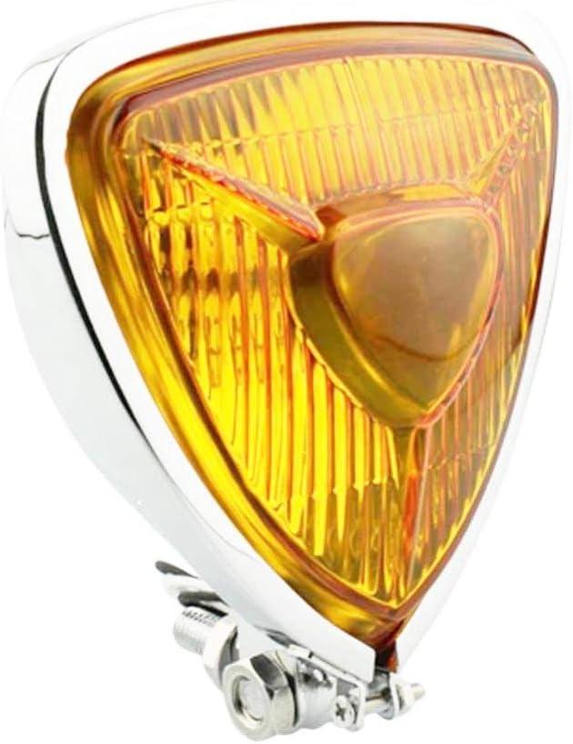 Moto Phare Avant Universel R/étro Modification Triangulaire M/étal Phares Fit Pour Harley Chopper Caf/é Racer Personnalis/é Lentille Ambre Noire