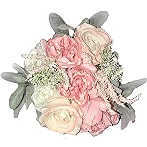 "Elegant Blooms & Things Soft Pink & Lamb's Ear Greenery Bridal Bouquet Tabletop Decor Bridesmaid 15"" Tall 9"