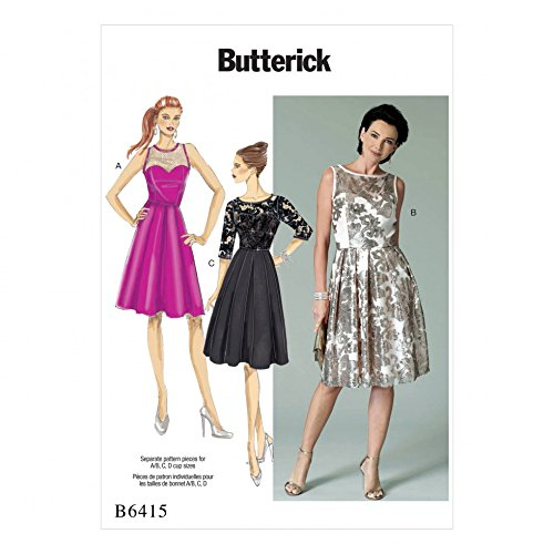 (Butterick Ladies Sewing Pattern 6415 Sweetheart Neckline Pleated Skirt Dresses)