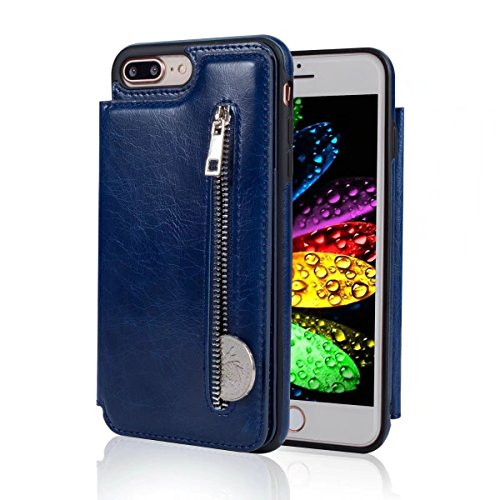 Abtory iPhone 8 Plus Case, Wallet Case with Credit Card Holder Slim Leather Shockproof Protective Hybrid Case with Stand Phone Case for iPhone 7 Plus/iPhone 8 Plus Blue by Abtory (Image #1)