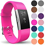 Yousave Accessories FitBit Charge 2 Strap Band - Replacement Silicone Sport Wristband for the FitBit Charge 2 – One to Ten Packs and 15 Colours Available (Small - Single Pack, Hot Pink)