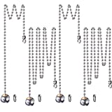 #5: Hestya 1 Meter Length Ceiling Fan Light Pull Cord Stainless Steel Ball Pull Chain Extension with Connector, 4 Sets