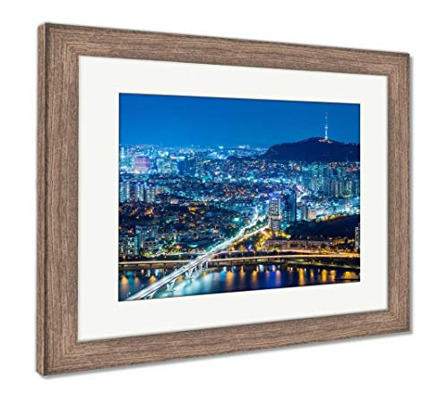 Ashley Framed Prints Seoul City at Night, Wall Art Home Decoration, Color, 26x30 (Frame Size), Rustic Barn Wood Frame, AG5888182