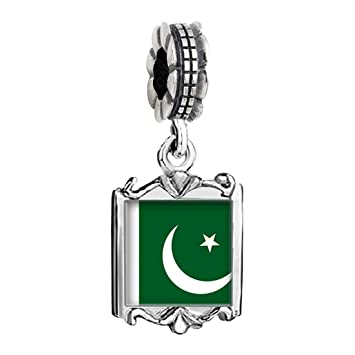 Versilbert Pakistan Flagge Foto Familie Mom Baby Girl Dad Dangle
