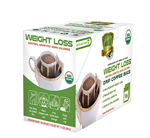 SOLLO Weight Loss Coffee Pods 16 Per Pack 100% Arabica Coffee with Active Herbal Extracts, Slimming, Slim, Diet, Detox, Antioxidant, USDA Organic, Drip Brewing Bags -
