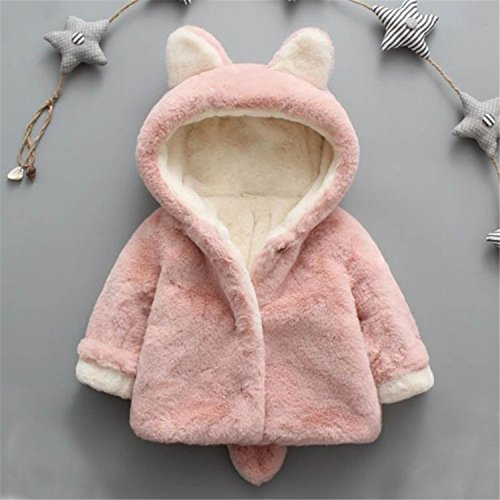 Baqijian Baby Infant Kid Winter Hooded Coat Wool Sweater Jacket Rabbit Ear Plus Velvet Thick Warm Children Year Costume Pink 24M]()