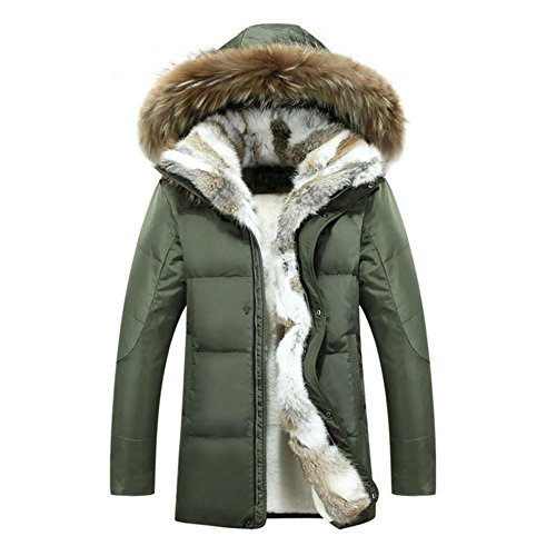 Chest Warmer (Hzcx Fashion Men's Fur Collar Hoodied Warm Fleece Lined Down Jackets and Coats 2016091201-385-GR-US XL(46) TAG 5XL)