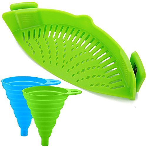 Snap 'N Strain Strainer, Clip On Silicone Colander, Fits all Pots and Bowls Silicone Snap Strainer W 2 Collapsible Funnels Kitchen Food Strainer for Spaghetti, Pasta - Lime Green