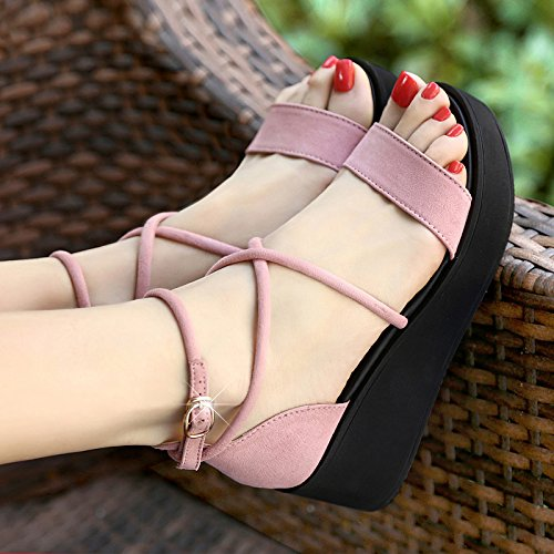 Été Croix Femme Romaines Hauts À Sandales Talons De Femmes Avec Compensées Shukun Pink Chaussures Mode La Des Personnalité xnZwtPwfB