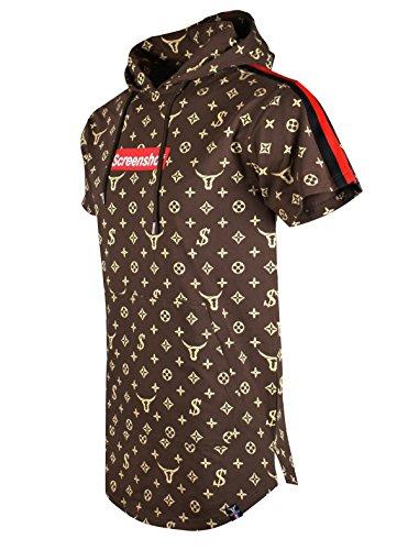 (SCREENSHOTBRAND-S11812 Mens Hip Hop Longline Premium Tee - Pullover Hooded Fashion T-shirt Pattern Print Shoulder Tape -Brown-Xlarge)