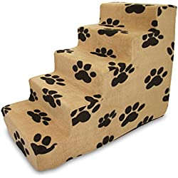 Best Pet Supplies 5-Step Pet Stairs, 30 by 15 by 23-Inch, Black Paw on Beige Suede