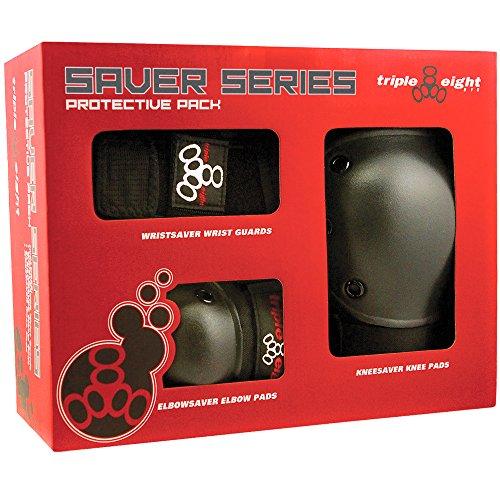 Triple Eight Saver Series 3-Pack Box Black M & Performance Headband Bundle