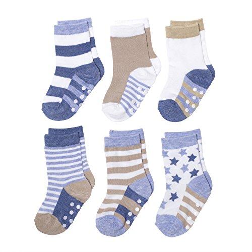 Silky Toes Baby Boy Girl Infant Socks 6Pk (6-12M, Stars N Stripes)