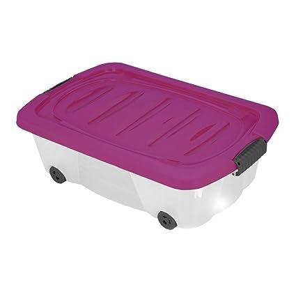 Caja de almacenamiento de plástico con ruedas para ropa, juguetes o zapatos, para debajo
