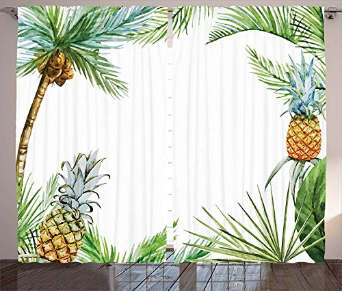LQQBSTORAGE Pineapple Decor Curtains Ambesonne,Watercolor Tropical Style Border Print with Exotic Fruit Palm Trees and Leaves 3 Layers High Density & Noise Reduction Fabric 2 Panel Set W72 x L96/Pair