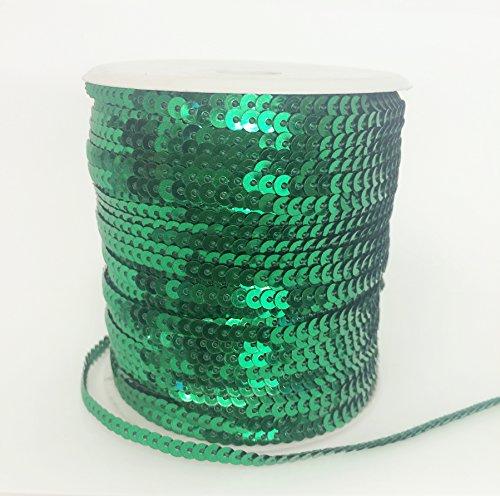 PEPPERLONELY Brand 100 Yard/Roll Metallic Flat Sequin Trim 4mm(3/16 Inch), Emerald