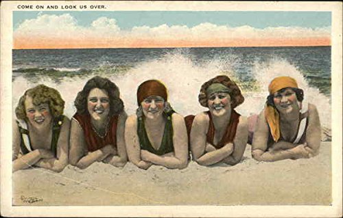 Come On & Look Us Over - Five Women in Swimwear on the Beach Original Vintage Postcard