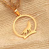 HAQUIL Wolf Necklace, 18k Gold Plated Stainless