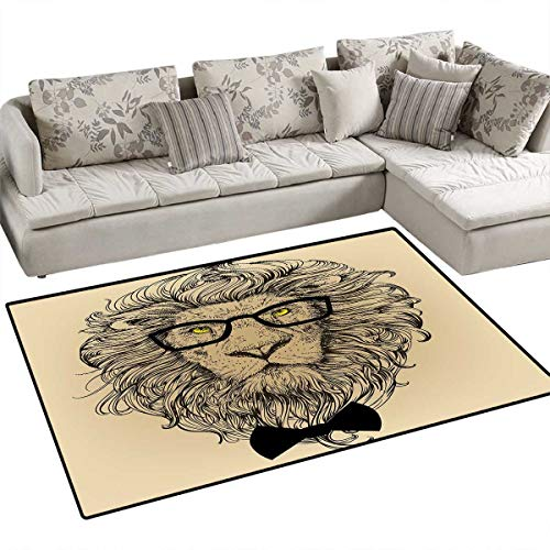 Indie Dolly - Indie Floor Mat for Kids Lion Character Portrait with Glasses and Bowtie Hipster Smart Cool Dandy Bath Mat Non Slip 3'x5' Sand Brown Black Yellow