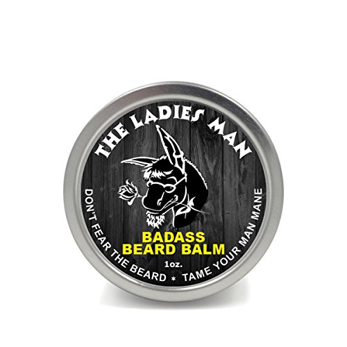 Badass Beard Care Beard Balm - The Ladies Man Scent, 1 oz - All Natural Ingredients, Soften Hair, Hydrate Skin to Get Rid of Itch and Dandruff, Promote Healthy Growth ()