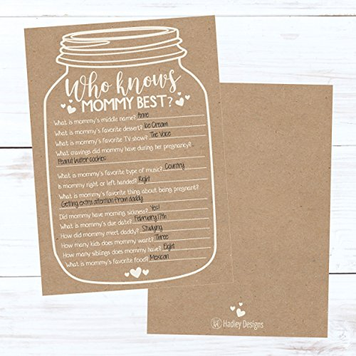 25 Rustic Mason Jar Baby Shower Games Ideas for Boys Or Girls, Fun Party Activities Who Knows Mommy Best Gender Neutral Reveal New Parent Guessing Funny Questions Pack Kids, Mom, Dad and Coed Couples by Hadley Designs (Image #1)