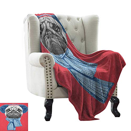 Thinsulate Muff Cozy (Pug,Custom Design Cozy Flannel Blanket,Detailed Dog Drawing with Scarf Earmuffs on Dark Coral Background Animal Fun 70