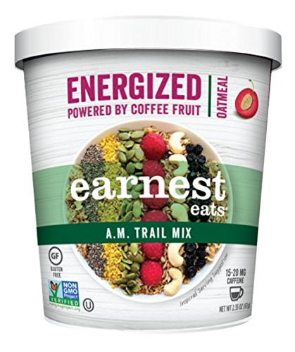 Earnest Eats Gluten Free & Organic Energized Oatmeal; A.M. Trail Mix 2.35 oz Cup (Pack of 12) Energized with Superfood Grains and CoffeeFlour