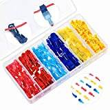 T Tap Electrical Connectors 120 PCS Quick Wire Splice Taps and Insulated Male Quick Disconnect Terminals (Yellow, Red and Blue)
