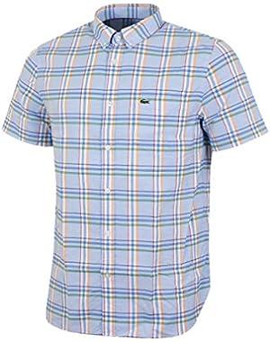 Men's Men's Blue Checked Short Sleeve Shirt in Size XL Light Blue