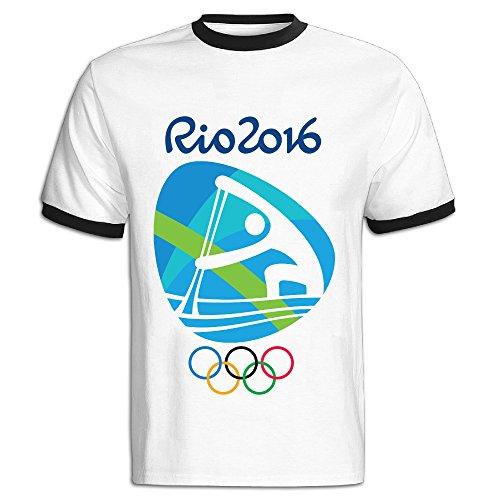LEBULAN Men's Canoe Sprint Logo 2016 Rio Olympic Games Ringer T Shirts/Tee