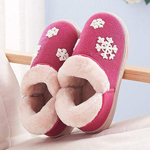 Y-Hui scarpe da uomo in inverno caldo interno antiscivolo spessore inferiore cotone pantofole pantofole amanti femmina in autunno e inverno,38-39 (Fit per 37-38 piedi),rosa rosso