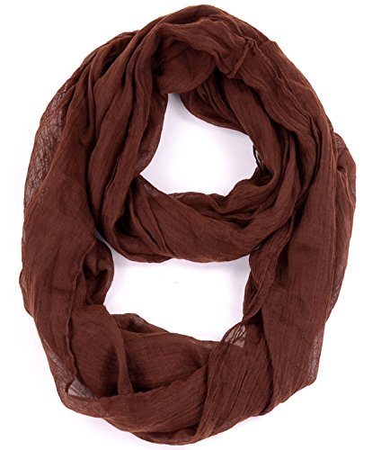 Loop Scarf Accessory (BYOS Womens Fashion Lightweight Soft Infinity Scarf Loop Snood in Solid Color (Brown ))