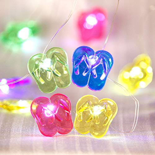 Tropical Beach Themed Slipper String Lights, Flip Flop Party Lantern Copper Wire 10ft 30 LED with Remote for Bedroom Dorm Wreathe Summer Wedding Kindergarten Decorations ()