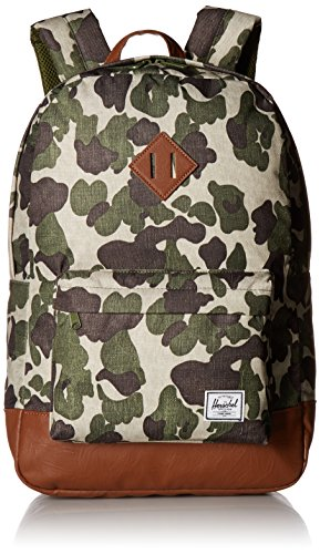 Herschel Supply Co. Heritage Backpack, Frog Camo/Tan Synthetic Leather, One Size