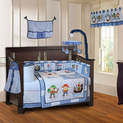 10 Piece Blue Sea Pirates Baby Crib Bedding Set with Musical Mobile Cute Cartoon Octopus Whale Fish Crib Bedding For Girls Boys Nursery Bed Set Nautical Coastal Blanket Quilt Skirt & More, Soft Cotton