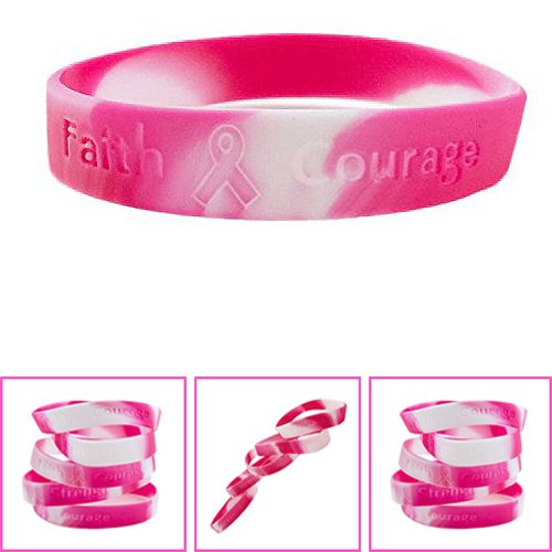 Adorox Hope Women Pink Ribbon Breast Cancer Awareness Bracelets Pink Survivor Love Pink 12 Pack