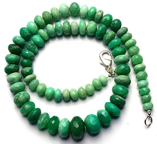 JP_Beads 1 Strand Natural Chrysoprase 7 to 14MM Facet Rondelle Beads 16 inch