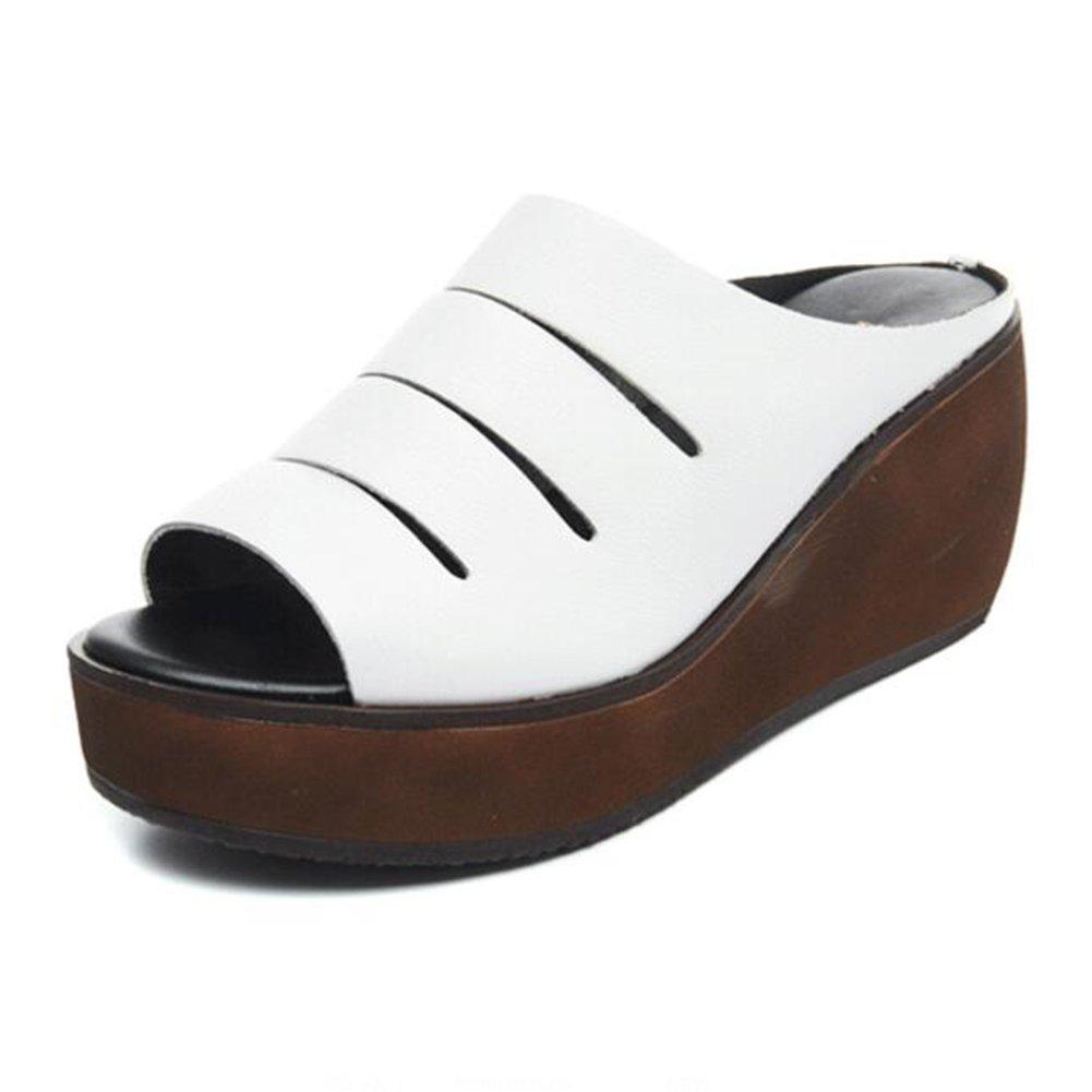 LIXIONG zapatillas Hembra verano Moda Fondo grueso Porciones Boca de pescado de tacón alto zapato, Altura del talón 7cm, 2 colores -Zapatos de moda (Color : Blanco, Tamaño : EU35/UK3.5/CN35/225) EU35/UK3.5/CN35/225|Blanco
