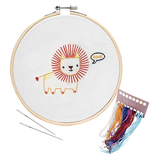 Unime Embroidery Starter Kit with Pattern Full Range Embroidery Kit with Embroidery Cloth, Embroidery Hoop, Color Threads, Needles (lion)