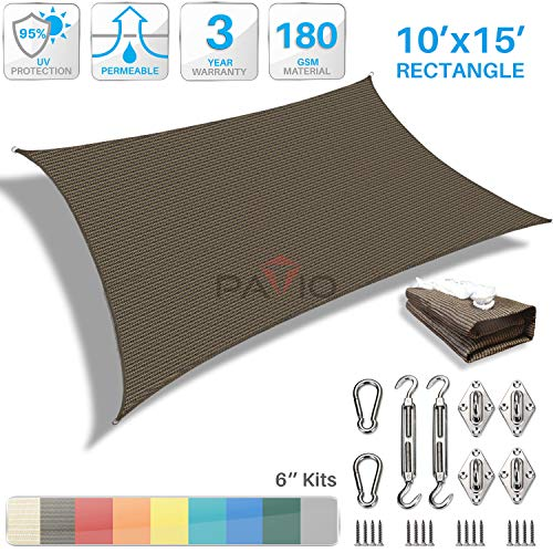 3 Year Hardware - Patio Paradise 10' x 15' Sun Shade Sail with 6 inch Hardware Kit, Brown Rectangle Canopy Durable Shade Fabric Outdoor UV Shelter Cover - 3 Year Warranty - Custom