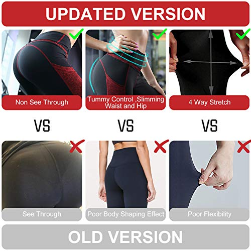 Sunzel High Waist Yoga Capris Tummy Control Workout Running Leggings Out Pocket 4 Way Stretch Yoga Pants - RED (M)