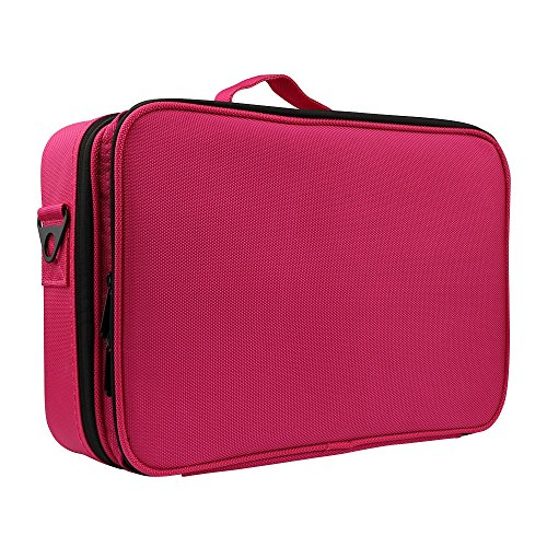 Cosmetic Makeup solid Red 3 Colors Brush Waterproof Capacity Travel Bag Large Toiletry Compartment Layers Bag Yuan Sqxdw6SB