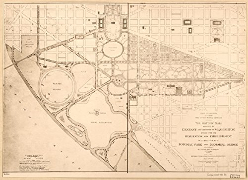 24 x 18 Reprinted Old Vintage Antique Map of: c.1900 The historic Mall designed by L'Enfant and approved by Washington : study for its realization and embellishment in connection with - Map Potomac Mall