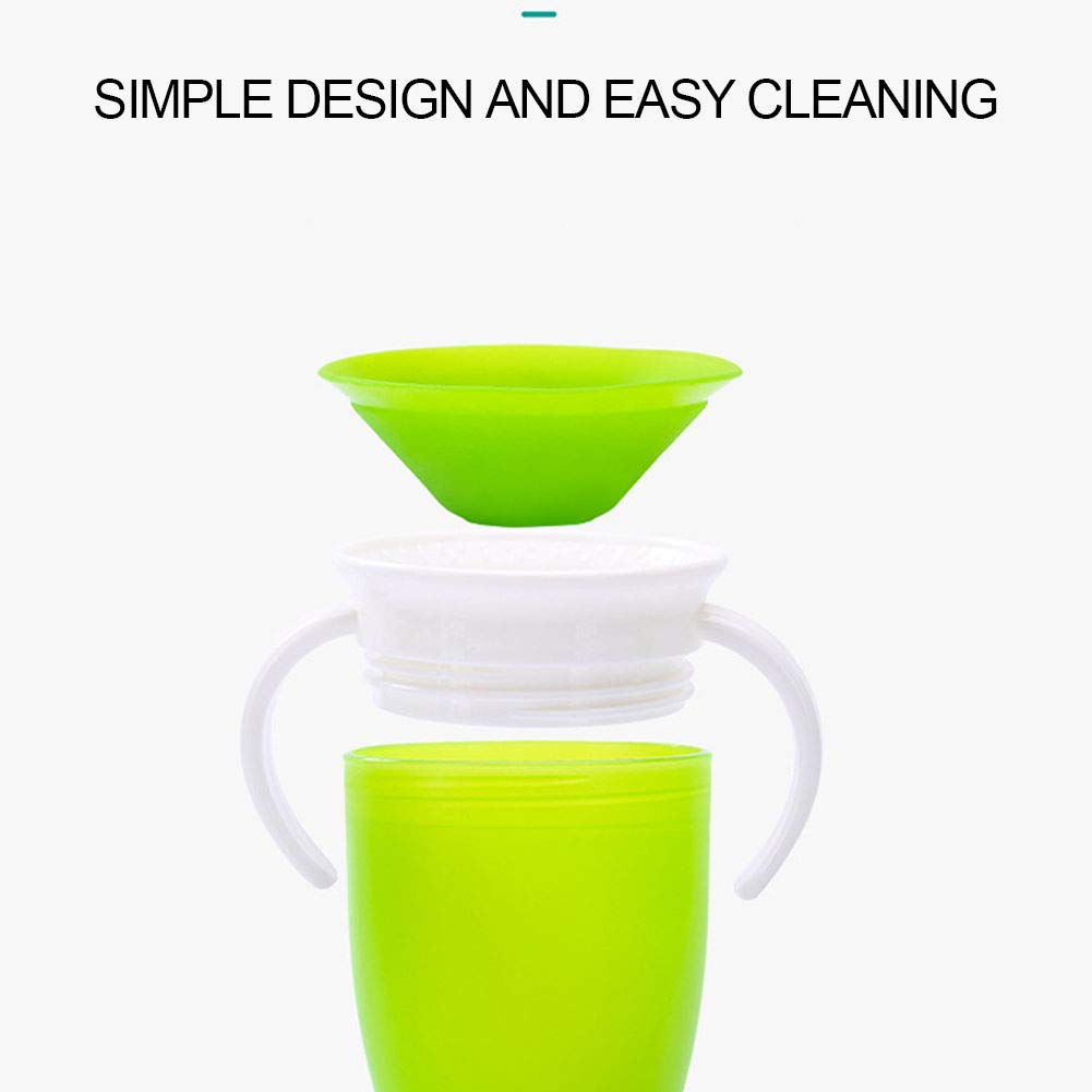 Naranja Caja fuerte para la taza con doble asa Botella agua 360 grados girada Bebe infantil Leakproof Trainning Alimentar Flip Tapa