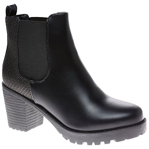 Feet First Fashion Marcella Womens Mid Block Heel Chelsea Ankle Boots Black Faux Leather / Snake dtX3kfQ1A