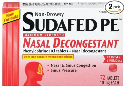 Amazon.com: Sudafed PE Maximum Strength Nasal Decongestant, Non-Drowsy (10  mg), 72-Count Tablets (Pack of 2): Health & Personal Care