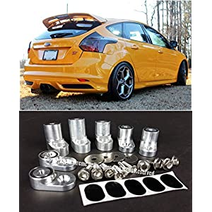 EOS Rear Wing Spoiler Riser Extender Lift Kit Silver - For Ford Focus ST Hatchback 13