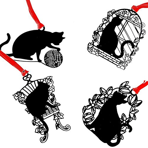 Olpchee Set of 4 Alloy Stainless Steel Metal Classical Hollow Bookmarks of Black Cat