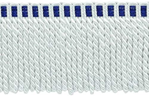 White with Blue Header A1T 5 Yard Value Pack|3 Inch Long Bullion Fringe Trim|Style# DB3 Color 15 Feet // 4.6 Meters