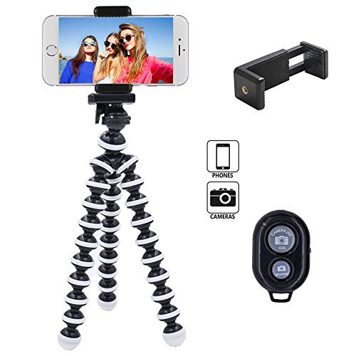 Flexible Leg (Linkcool Flexible Octopus Phone Tripod, Portable and Adjustable iPhone Tripod Stand Holder with Universal Clip and Bluetooth Remote, Tripod for iPhone, Android Phone, Any Smartphones and Camera)
